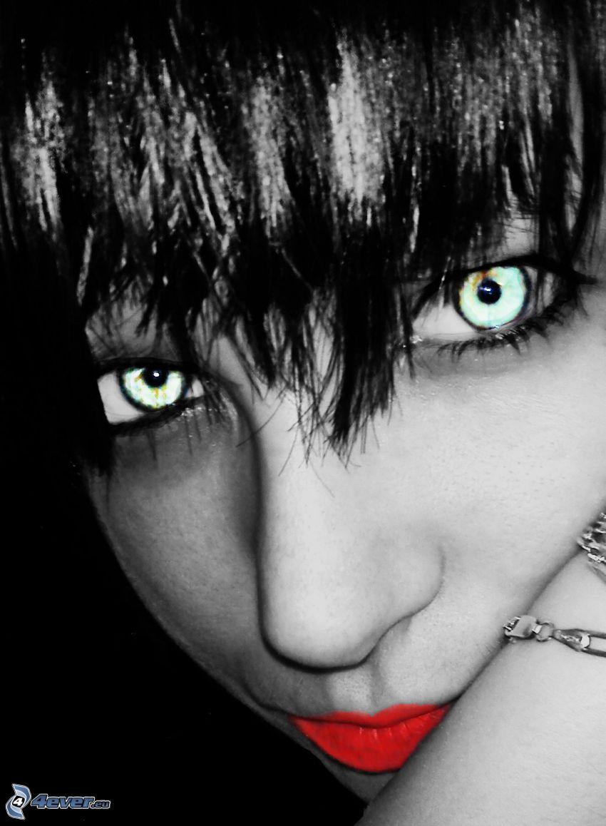 tjej, gröna ögon, sminkade läppar, ansikte