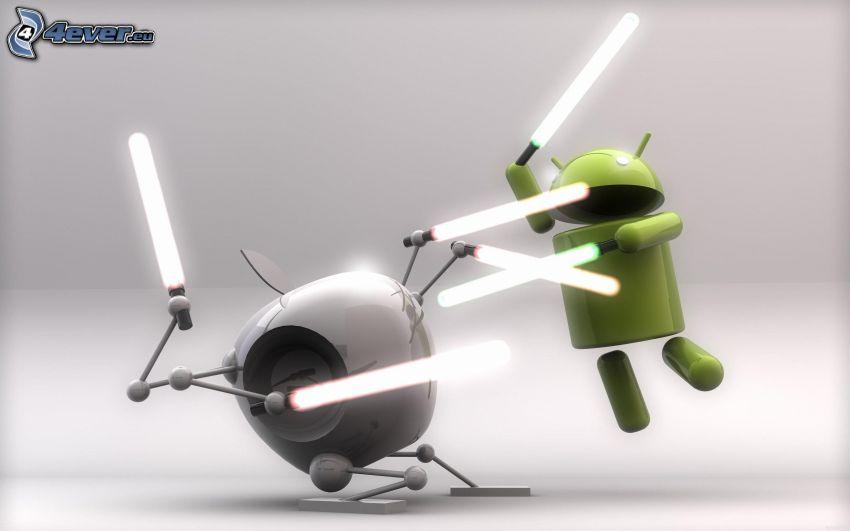 Apple, Android, lysande svärd, duell