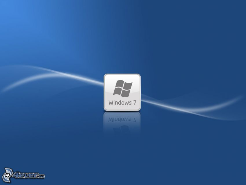 Windows 7, blå bakgrund, vit linje