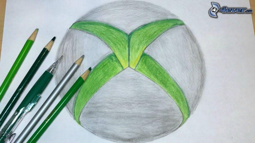 Xbox, tecknat, färgpennor