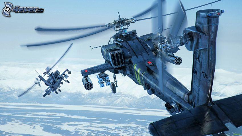 Boeing AH-64 Apache, snöigt landskap
