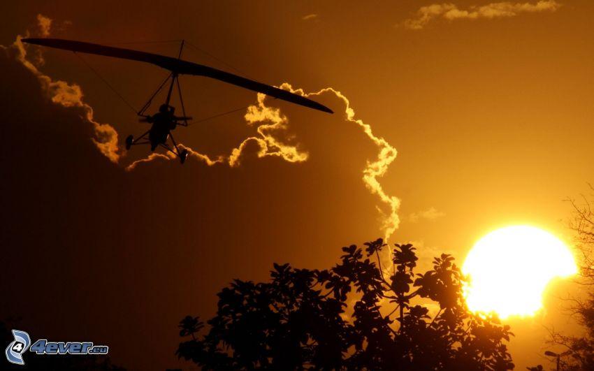 flygning, orange solnedgång, flygplan, moln