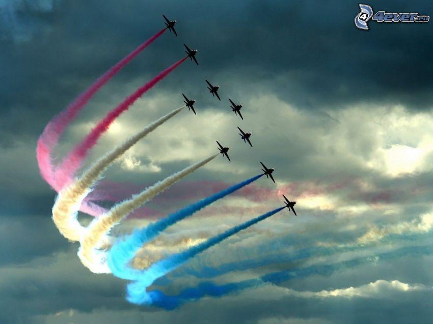 flygplan, färggrann rök, framträdande