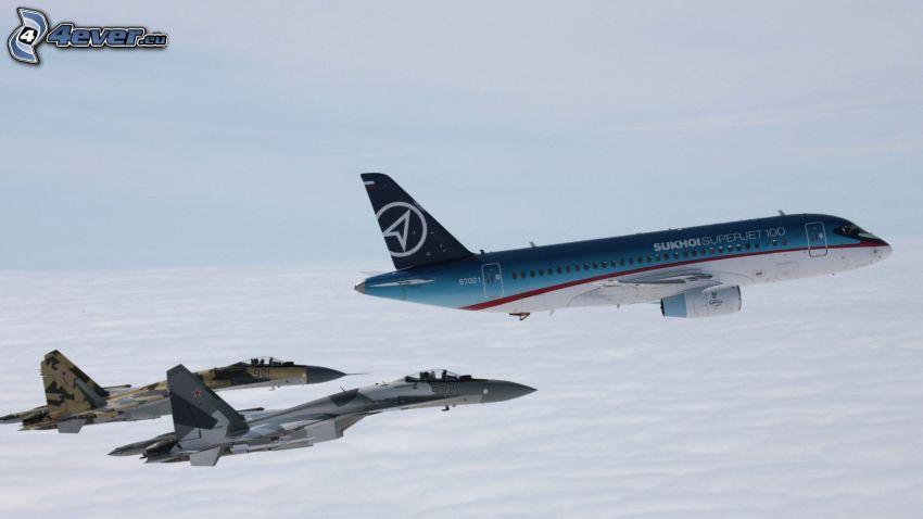 flygplan, jaktplan, ovanför molnen