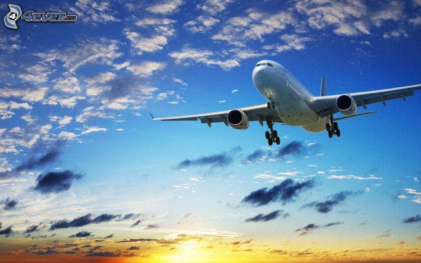 Airbus, flygplan vid solnedgången, himmel