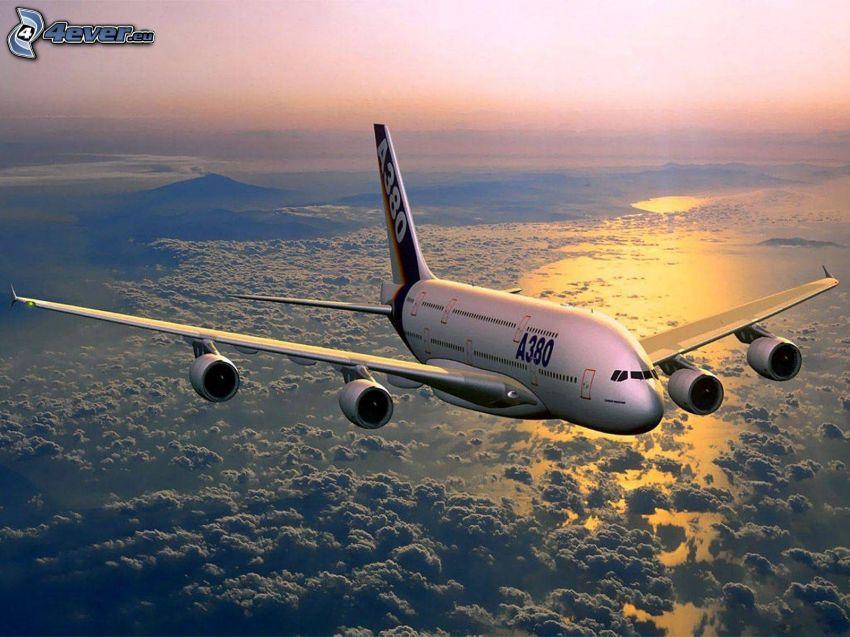 Airbus A380, ovanför molnen, hav, soluppgång