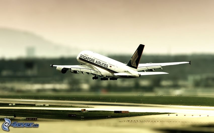 Airbus A380, Singapore Airlines, flygstart, flygplats