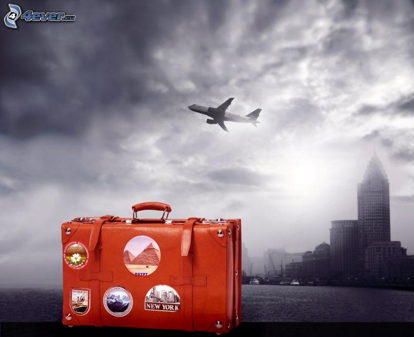 Boeing 737, resväska, stad, moln