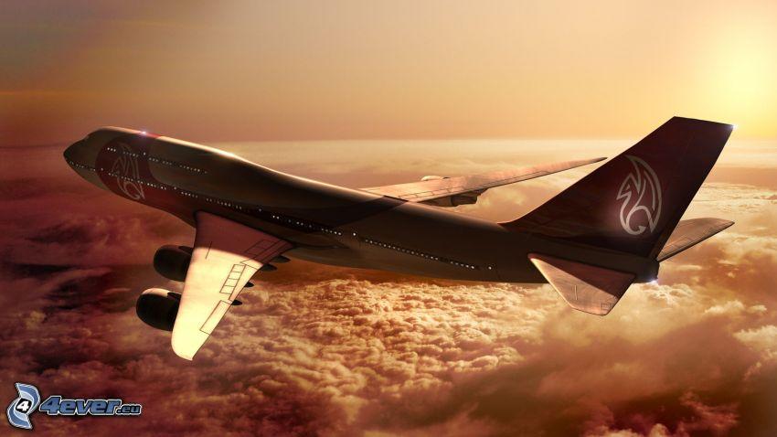 Boeing 747, flygplan vid solnedgången, ovanför molnen