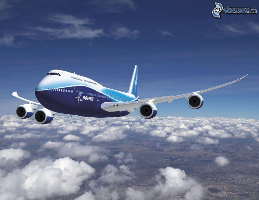 Boeing 747 Dreamliner, flygplan, ovanför molnen