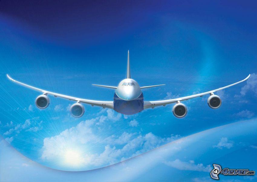 Boeing 747 Dreamliner, himmel, moln
