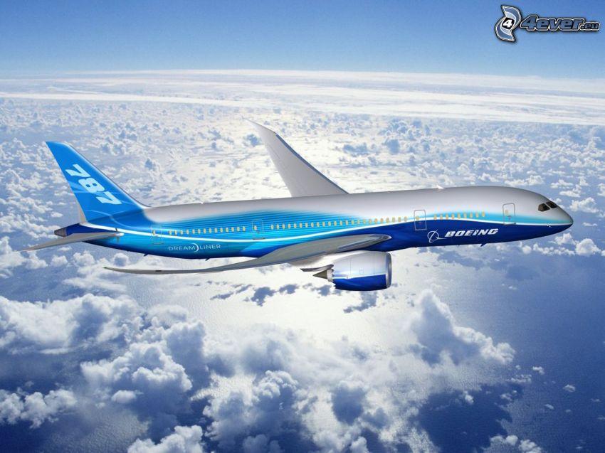 Boeing 787 Dreamliner, ovanför molnen, hav, flygplan