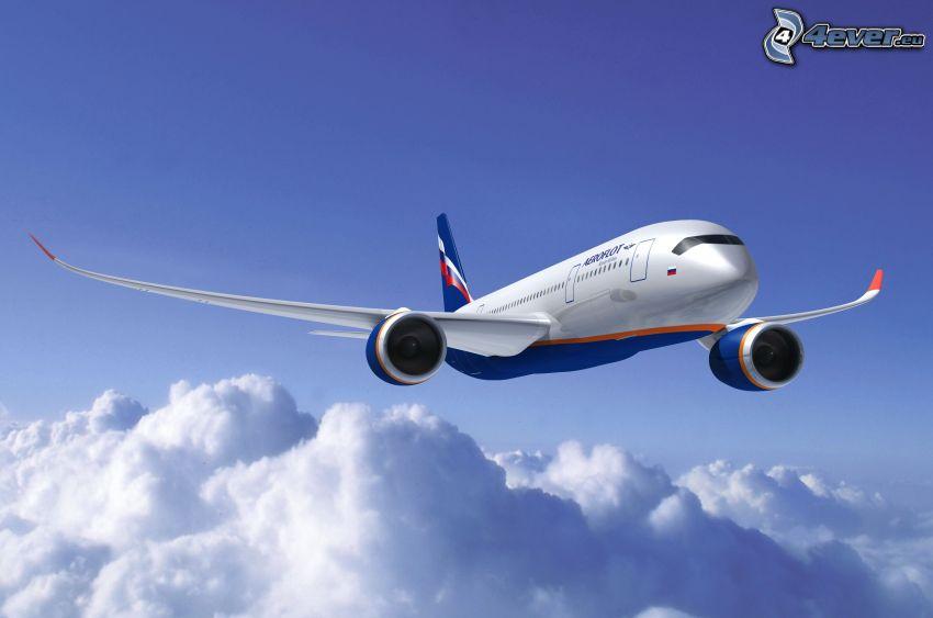 Boeing 787 Dreamliner, ovanför molnen, himmel
