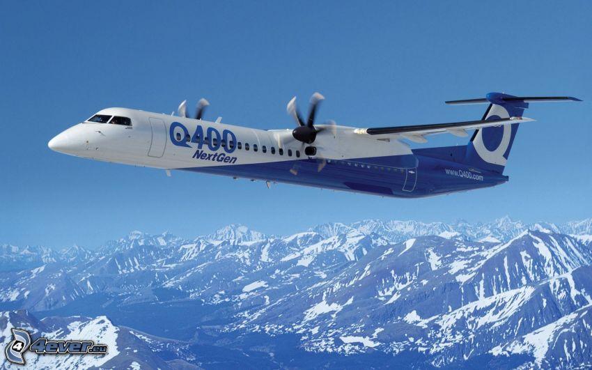 Bombardier Q400, snöig bergskedja