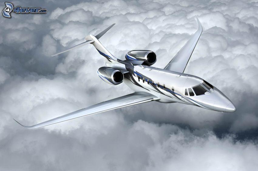 Citation X - Cessna, ovanför molnen
