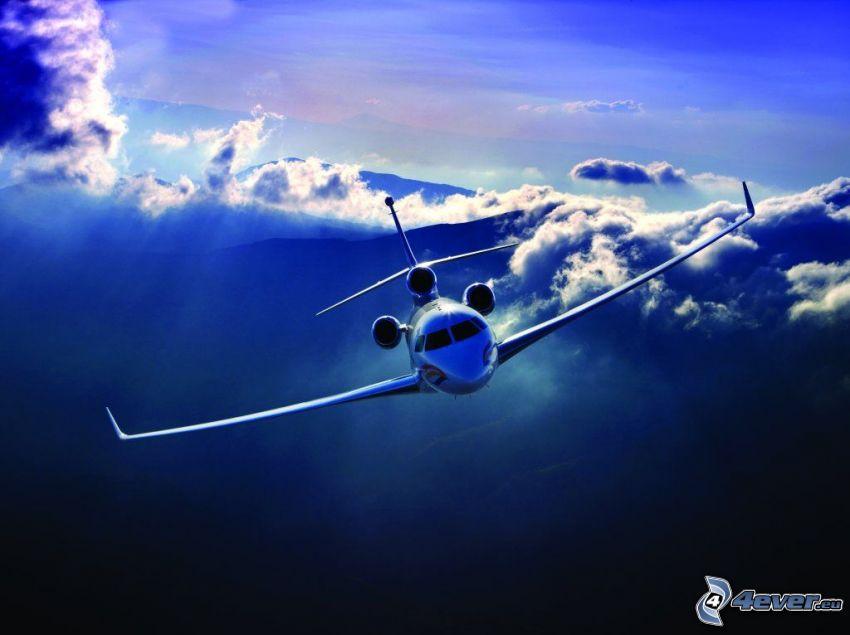 Dassault Falcon 7X, privat jetplan, moln