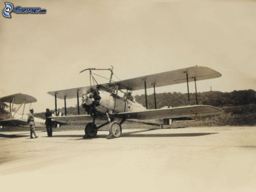 dubbelvingat flygplan, gammalt foto, sepia