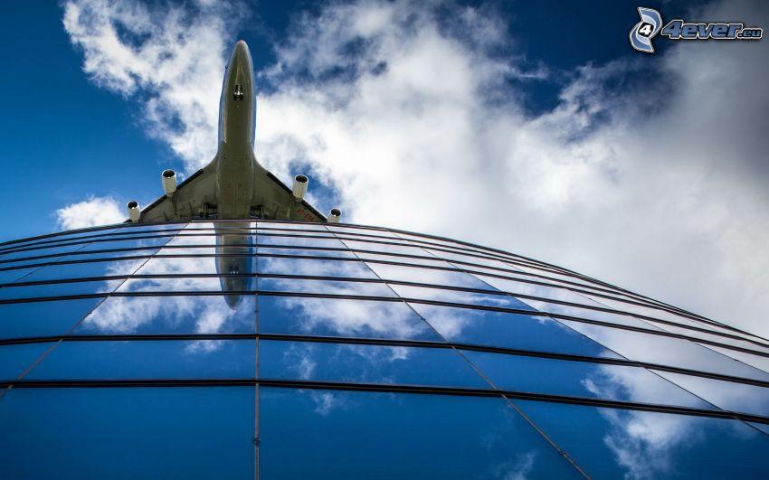 flygplan, byggnad, moln