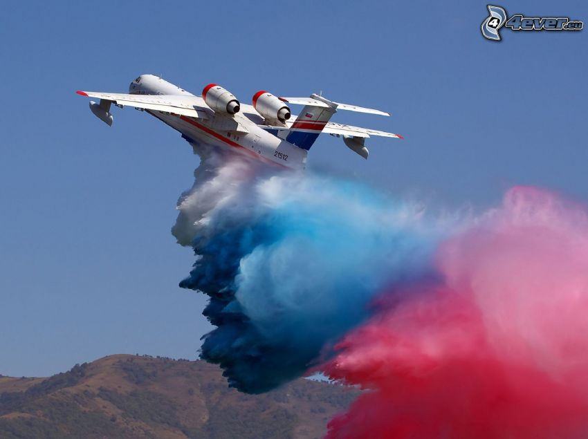 flygplan, färggrann rök