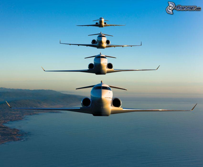 flygplan, hav