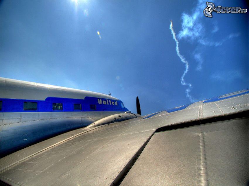 flygplan, himmel