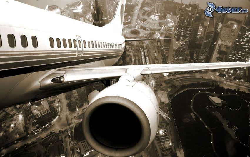 flygplan, jetmotor, storstad, skyskrapor
