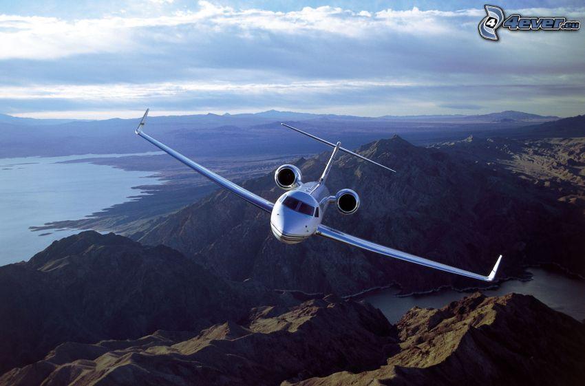 flygplan, klippiga berg