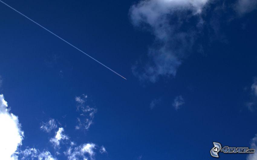 flygplan, kondensationsspår, blå himmel