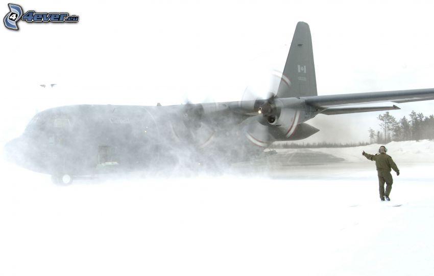 flygplan, man, snö