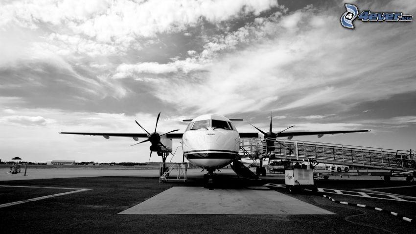 flygplan, moln, svart och vitt