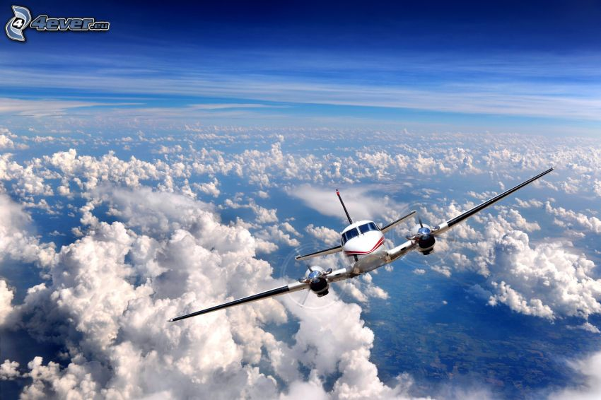 flygplan, moln