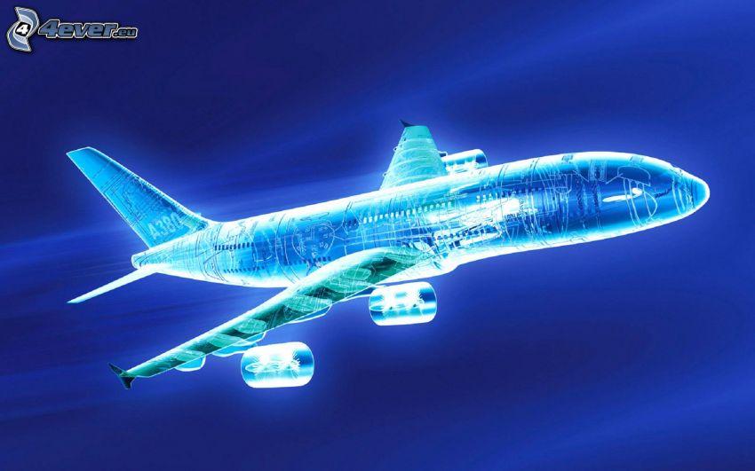 flygplan, neon