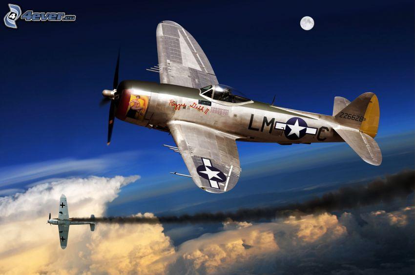 flygplan, ovanför molnen, Andra världskriget, måne