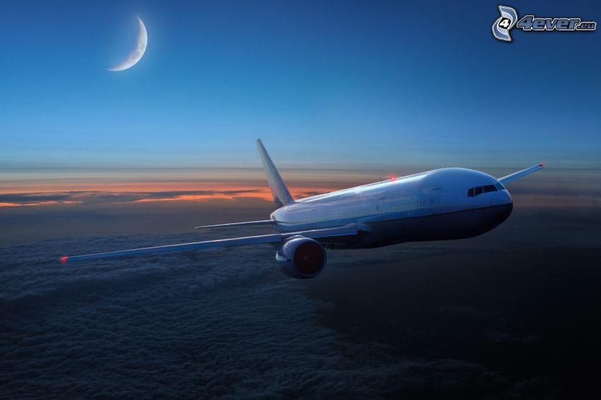 flygplan, ovanför molnen, måne