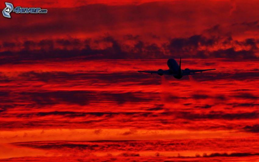 flygplan, ovanför molnen, orangea moln