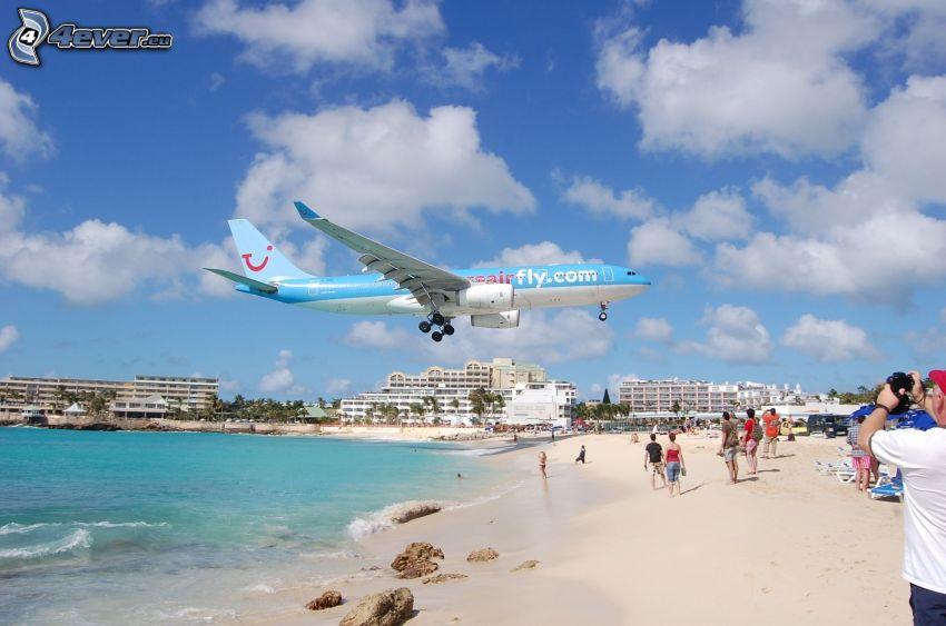 flygplan, sandstrand, människor, hav