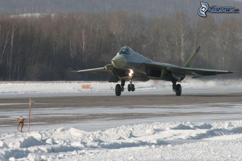 flygplan, snö