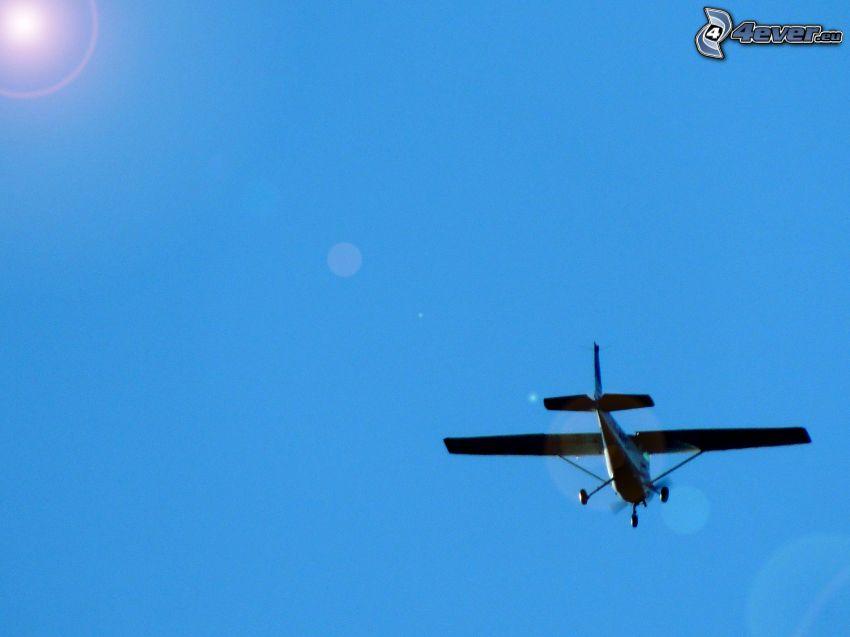 flygplan, sol, blå himmel