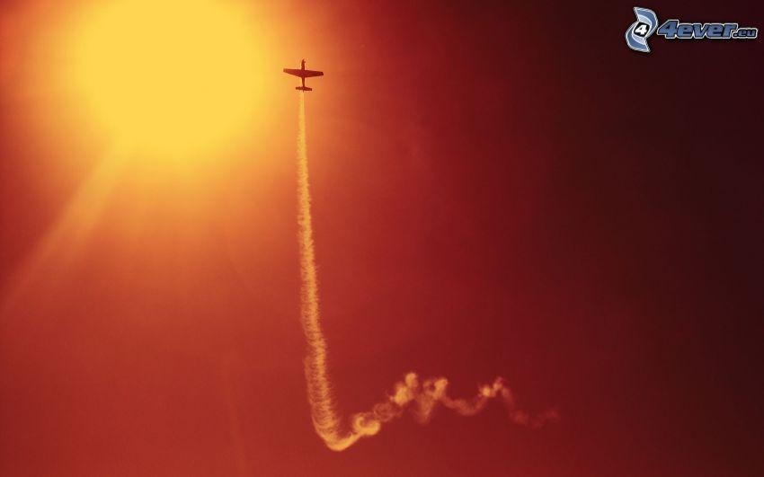 flygplan, sol, kondensationsspår