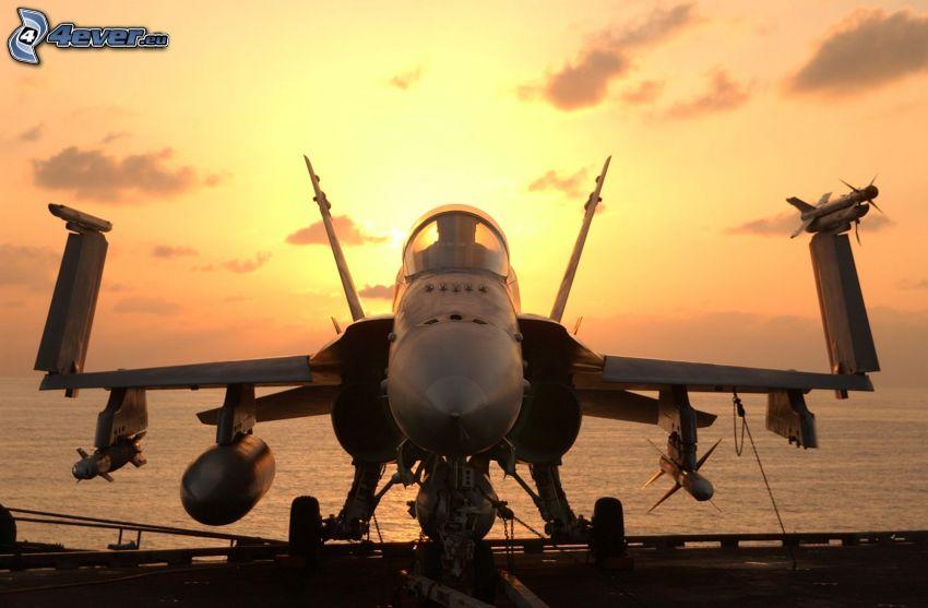 flygplan, solnedgång