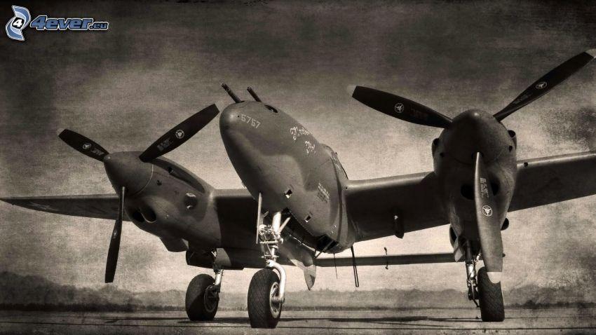 flygplan, svartvitt foto