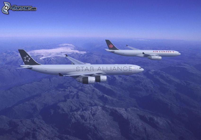 flygplan, utsikt över landskap, himmel