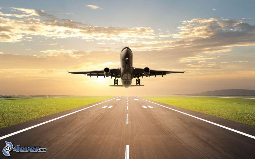 flygplan vid solnedgången, flygstart, flygplats