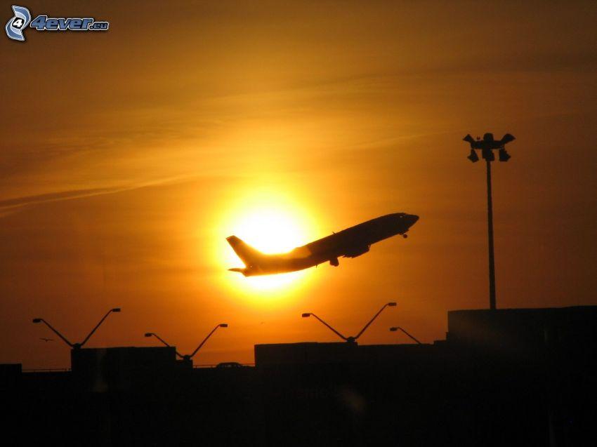 flygstart vid solnedgång, flygplan, flygplats