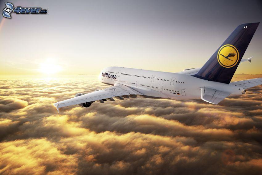 Lufthansa, ovanför molnen