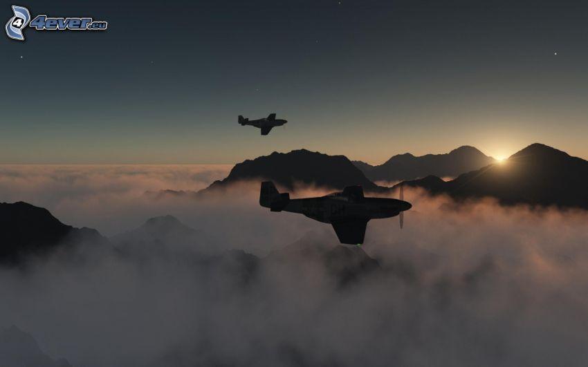 P-51 Mustang, ovanför molnen, kullar, sol