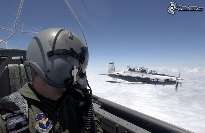 pilot, flygplan, ovanför molnen