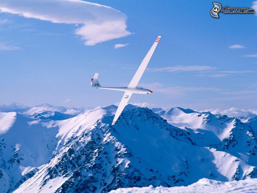 segelflygplan, snöklädda berg, flygplan