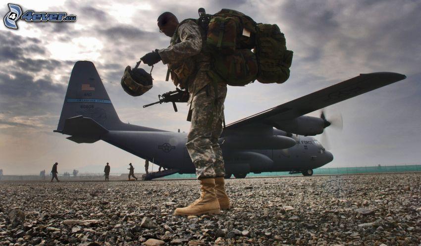 soldat, flygplan