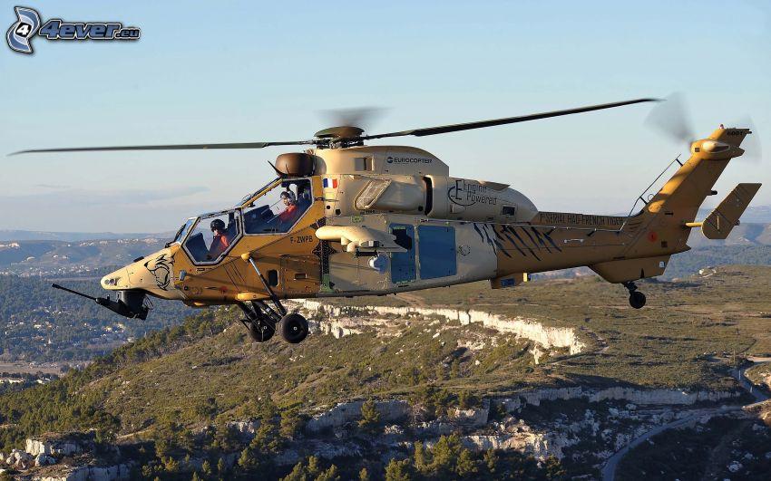 helikopter, stenig backe